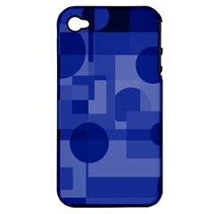 Deep Blue Abstract Design Apple Iphone 4/4s Hardshell Case (pc+silicone) by Valentinaart