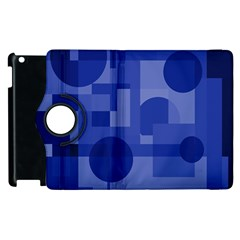 Deep Blue Abstract Design Apple Ipad 2 Flip 360 Case by Valentinaart