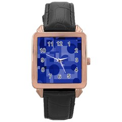 Deep Blue Abstract Design Rose Gold Leather Watch  by Valentinaart