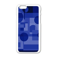 Deep Blue Abstract Design Apple Iphone 6/6s White Enamel Case by Valentinaart