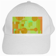 Green And Orange Decorative Design White Cap by Valentinaart