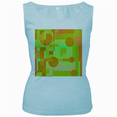 Green and orange decorative design Women s Baby Blue Tank Top by Valentinaart