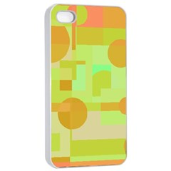 Green And Orange Decorative Design Apple Iphone 4/4s Seamless Case (white) by Valentinaart