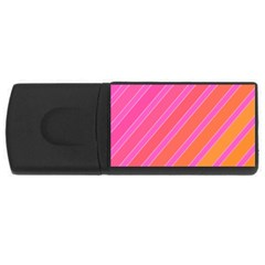 Pink Elegant Lines Usb Flash Drive Rectangular (4 Gb)  by Valentinaart