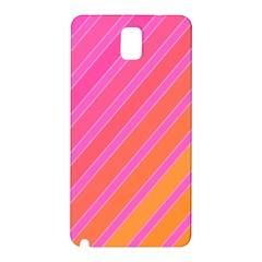 Pink Elegant Lines Samsung Galaxy Note 3 N9005 Hardshell Back Case by Valentinaart