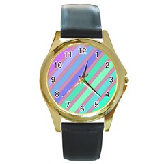 Pastel Colorful Lines Round Gold Metal Watch by Valentinaart
