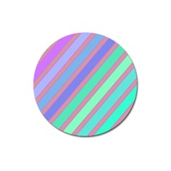 Pastel Colorful Lines Magnet 3  (round) by Valentinaart