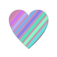 Pastel Colorful Lines Heart Magnet by Valentinaart