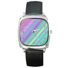 Pastel Colorful Lines Square Metal Watch by Valentinaart