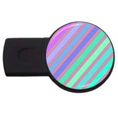 Pastel Colorful Lines Usb Flash Drive Round (4 Gb)  by Valentinaart