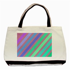 Pastel Colorful Lines Basic Tote Bag by Valentinaart