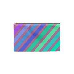 Pastel Colorful Lines Cosmetic Bag (small)  by Valentinaart