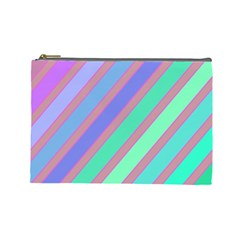 Pastel Colorful Lines Cosmetic Bag (large)  by Valentinaart