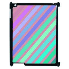 Pastel Colorful Lines Apple Ipad 2 Case (black) by Valentinaart