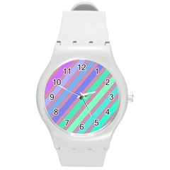 Pastel Colorful Lines Round Plastic Sport Watch (m) by Valentinaart