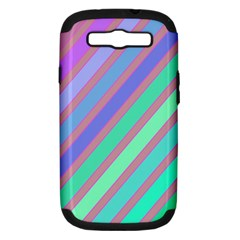 Pastel Colorful Lines Samsung Galaxy S Iii Hardshell Case (pc+silicone) by Valentinaart