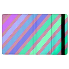 Pastel Colorful Lines Apple Ipad 2 Flip Case by Valentinaart