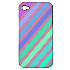 Pastel Colorful Lines Apple Iphone 4/4s Hardshell Case (pc+silicone) by Valentinaart