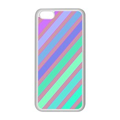 Pastel Colorful Lines Apple Iphone 5c Seamless Case (white) by Valentinaart
