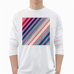 Colorful Lines White Long Sleeve T Shirts by Valentinaart