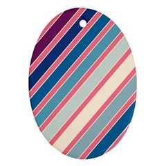 Colorful Lines Oval Ornament (two Sides) by Valentinaart