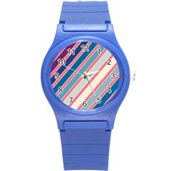 Colorful Lines Round Plastic Sport Watch (s) by Valentinaart