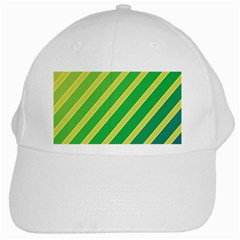 Green And Yellow Lines White Cap by Valentinaart