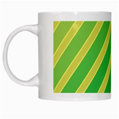 Green And Yellow Lines White Mugs by Valentinaart