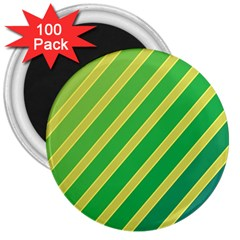 Green And Yellow Lines 3  Magnets (100 Pack) by Valentinaart