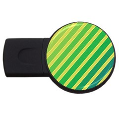 Green And Yellow Lines Usb Flash Drive Round (2 Gb)  by Valentinaart