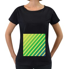 Green And Yellow Lines Women s Loose Fit T Shirt (black) by Valentinaart