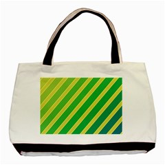 Green And Yellow Lines Basic Tote Bag by Valentinaart
