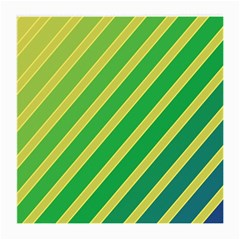 Green And Yellow Lines Medium Glasses Cloth by Valentinaart