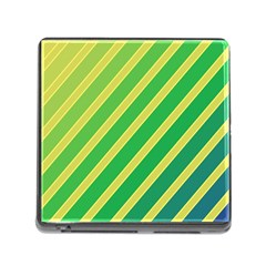 Green And Yellow Lines Memory Card Reader (square) by Valentinaart