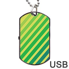 Green And Yellow Lines Dog Tag Usb Flash (two Sides)  by Valentinaart