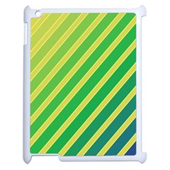 Green And Yellow Lines Apple Ipad 2 Case (white) by Valentinaart