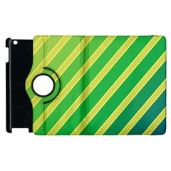 Green And Yellow Lines Apple Ipad 3/4 Flip 360 Case by Valentinaart