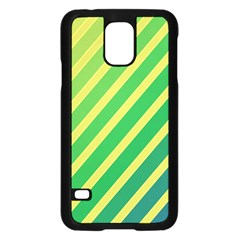 Green And Yellow Lines Samsung Galaxy S5 Case (black) by Valentinaart