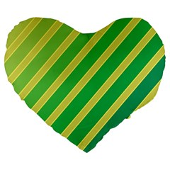 Green And Yellow Lines Large 19  Premium Flano Heart Shape Cushions by Valentinaart