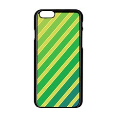 Green And Yellow Lines Apple Iphone 6/6s Black Enamel Case by Valentinaart