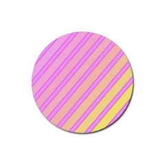 Pink And Yellow Elegant Design Rubber Round Coaster (4 Pack)  by Valentinaart