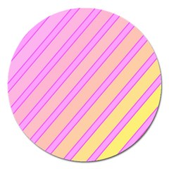 Pink And Yellow Elegant Design Magnet 5  (round) by Valentinaart