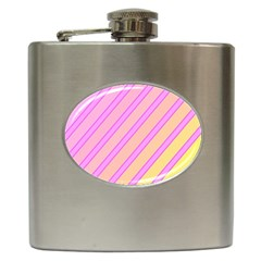 Pink And Yellow Elegant Design Hip Flask (6 Oz) by Valentinaart