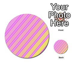 Pink And Yellow Elegant Design Multi Purpose Cards (round)