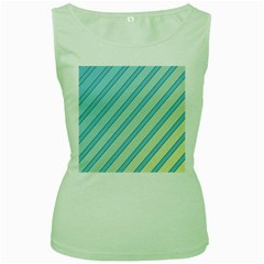 Blue elegant lines Women s Green Tank Top by Valentinaart