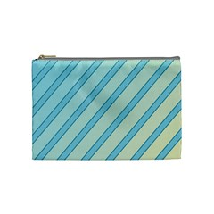 Blue Elegant Lines Cosmetic Bag (medium)  by Valentinaart