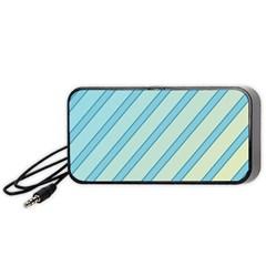 Blue Elegant Lines Portable Speaker (black)  by Valentinaart