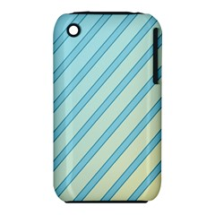 Blue Elegant Lines Apple Iphone 3g/3gs Hardshell Case (pc+silicone) by Valentinaart