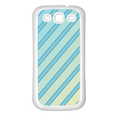 Blue Elegant Lines Samsung Galaxy S3 Back Case (white) by Valentinaart