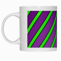Purple and green lines White Mugs by Valentinaart